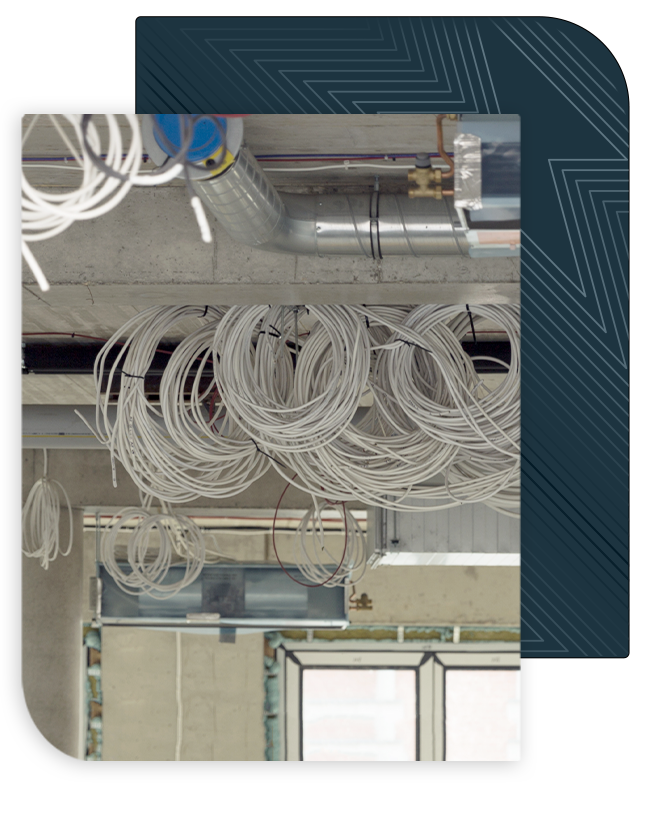 commercial electric wiring on ceiling